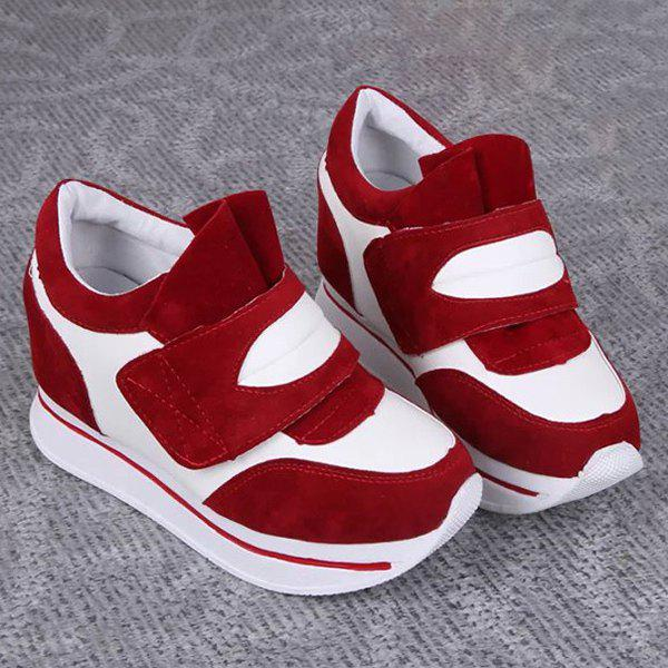 Trendy Color Block and Platform Design Women's Athletic Shoes - RED 39