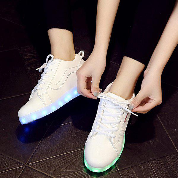 Stylish White and Lights Up Led Luminous Design Women's Athletic Shoes - WHITE 43