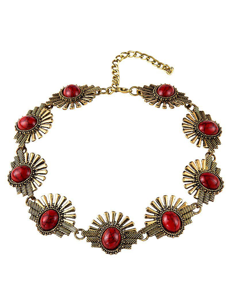 Stylish Faux Stone Sunrise Necklace - RED
