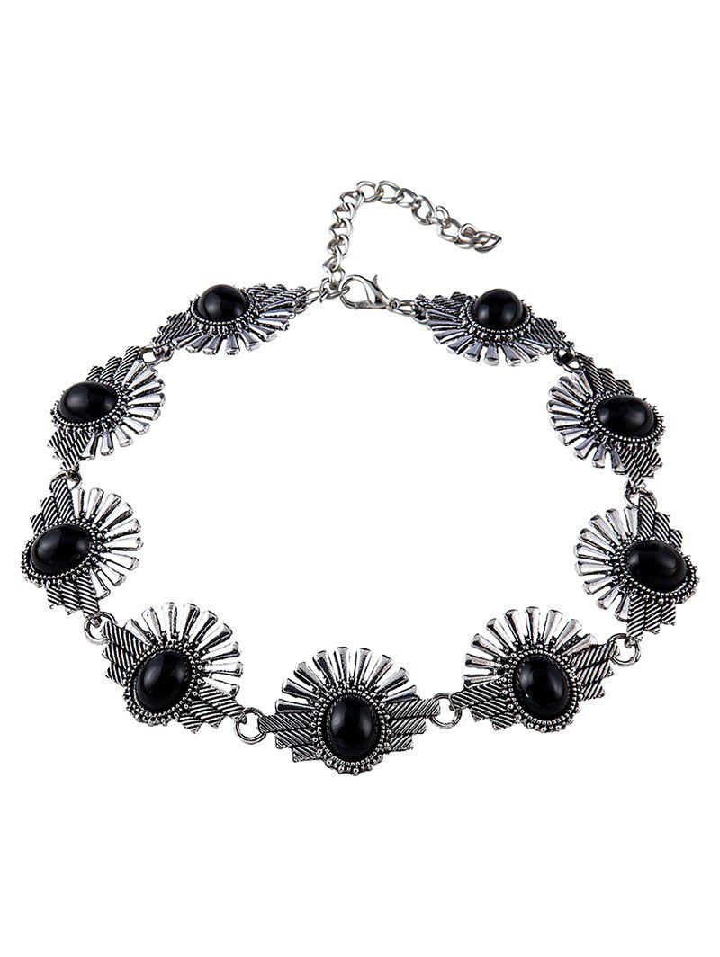 Stylish Faux Gemstone Sunrise Necklace - BLACK