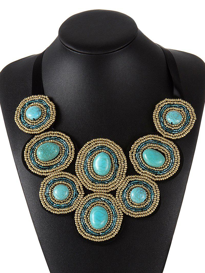 Ethnic Faux Turquoise Beaded Necklace - BLUE