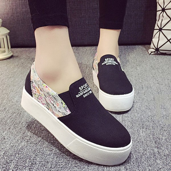 Simple Lace and Floral Print Design Women's Platform Shoes - BLACK 39