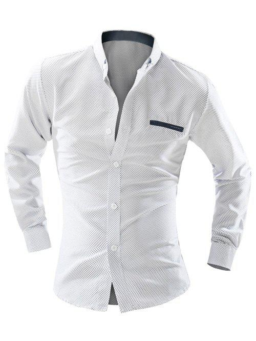 Polka Dot Double Welt Breast Pocket Long Sleeve Men's Button-Down Shirt - WHITE L