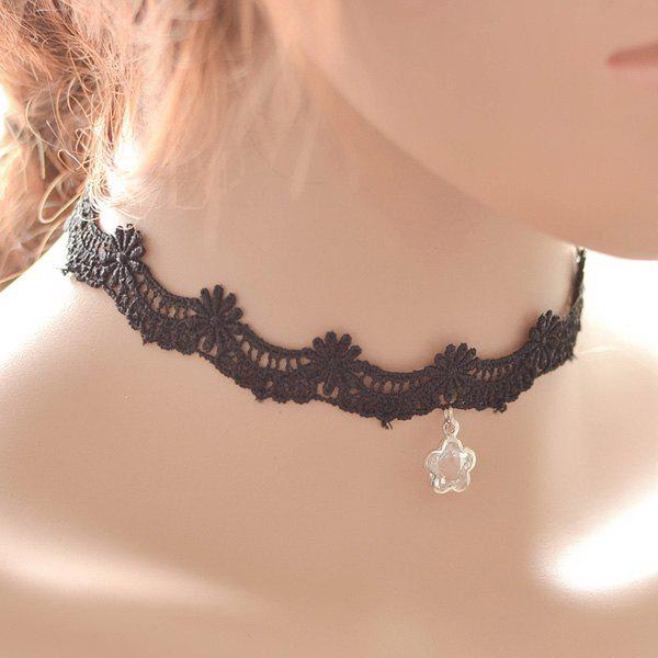 Vintage Faux Crystal Pentagram Choker For Women