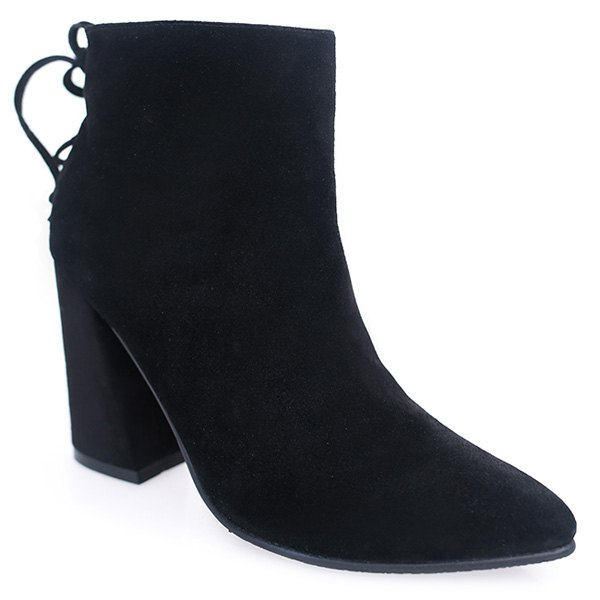 Fashionable Zipper and Tie Up Design Women's Short Boots - BLACK 38