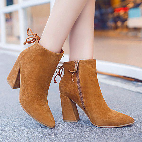 Fashionable Zipper and Tie Up Design Women's Short Boots - BROWN 37