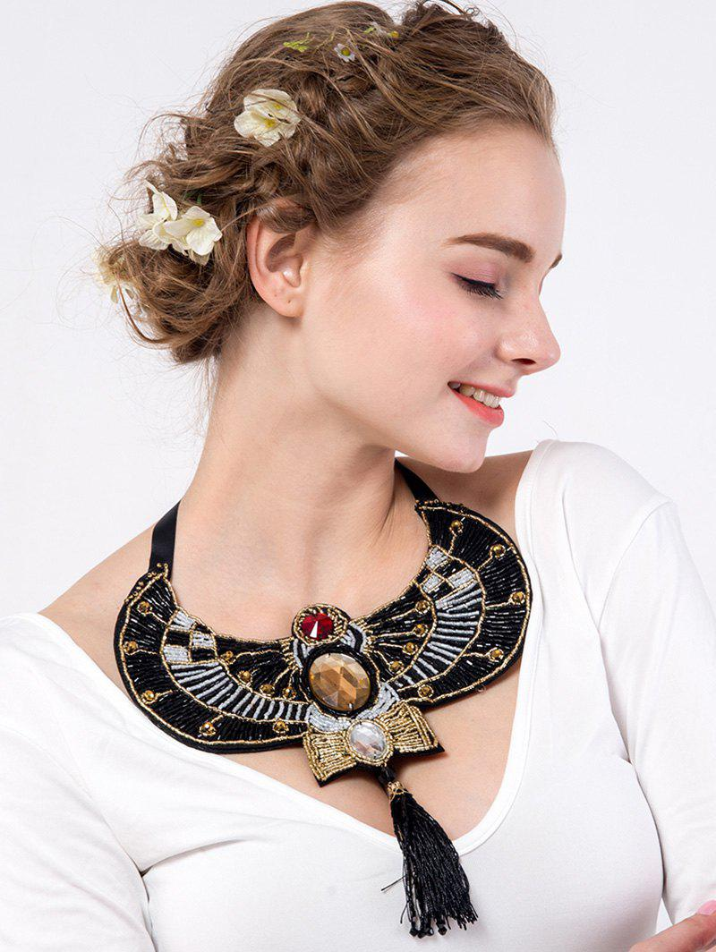 Ethnic Rhinestone Beaded Eagle Necklace - BLACK