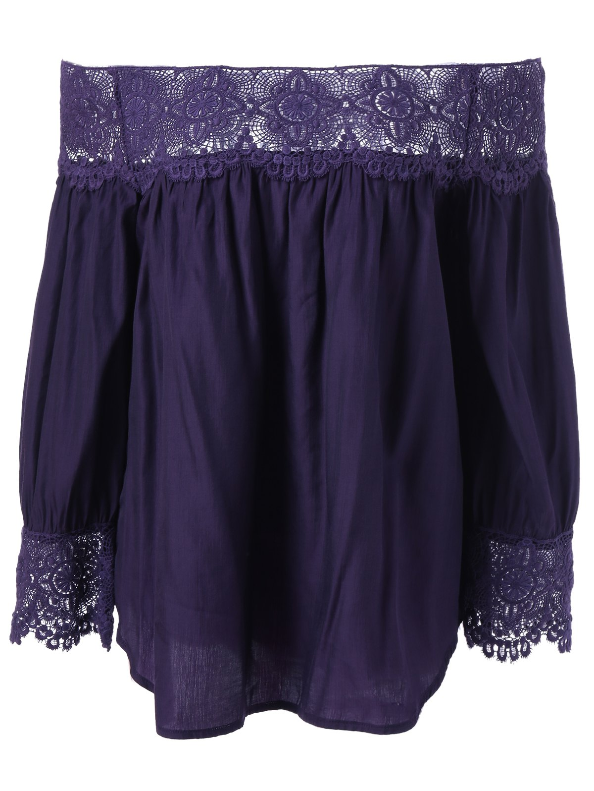 Casual Off-The-Shoulder Lace Spilicing Blouse - VIOLET XL