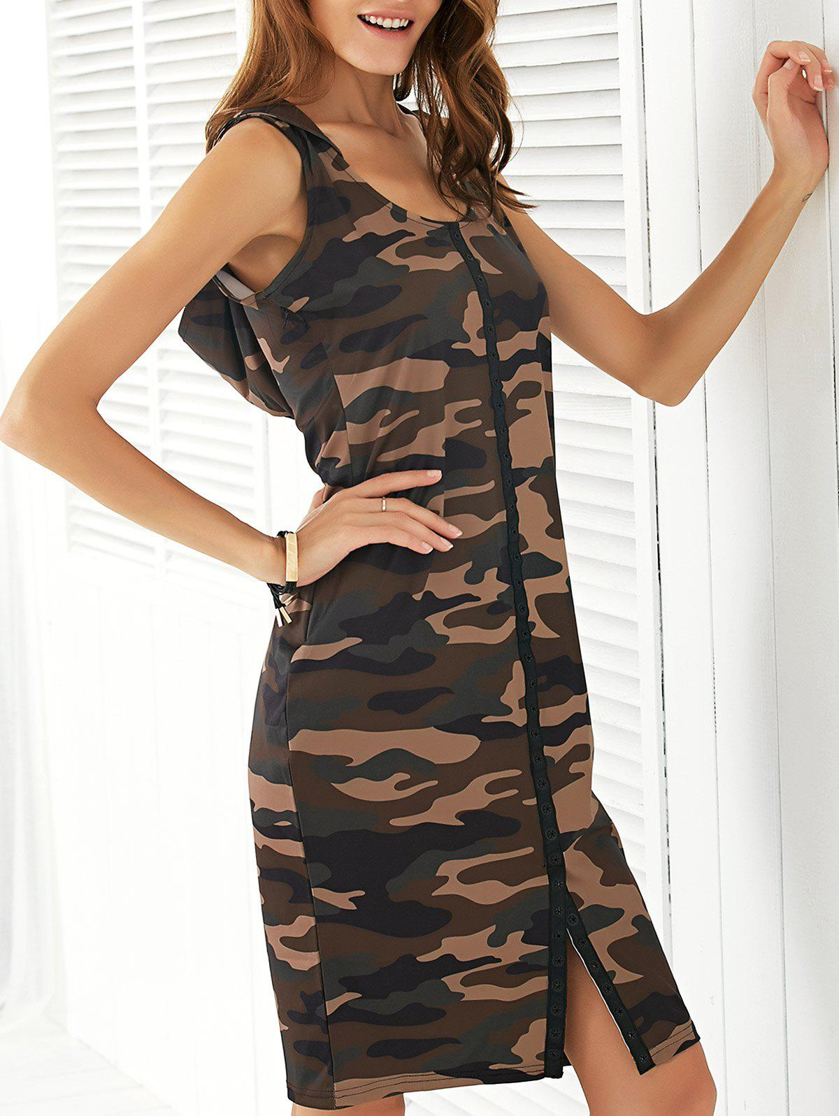 Fashionable Hooded Camo Print Women's Dress - CAMOUFLAGE L