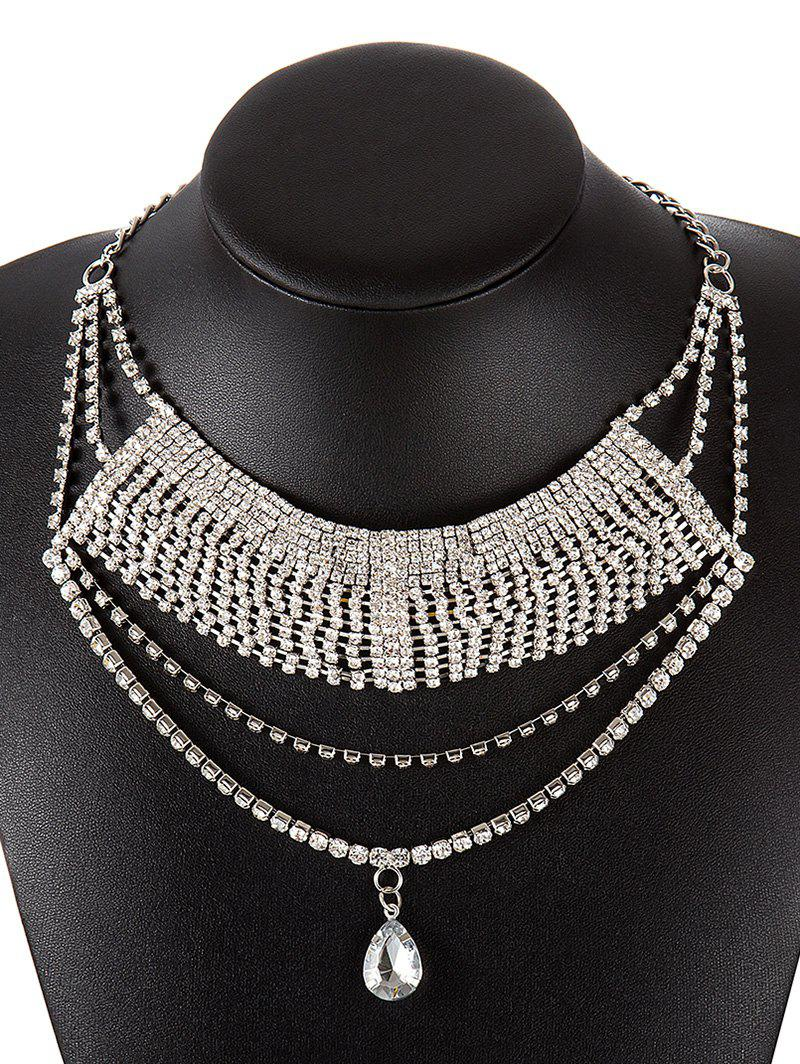 Stylish Teardrop Layered Rhinestoned Necklace - SILVER