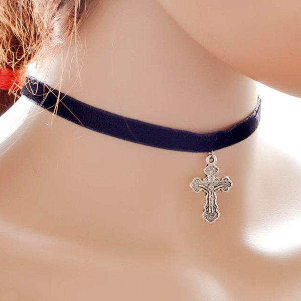 Velvet Crucifix Pendant Choker Necklace - BLACK