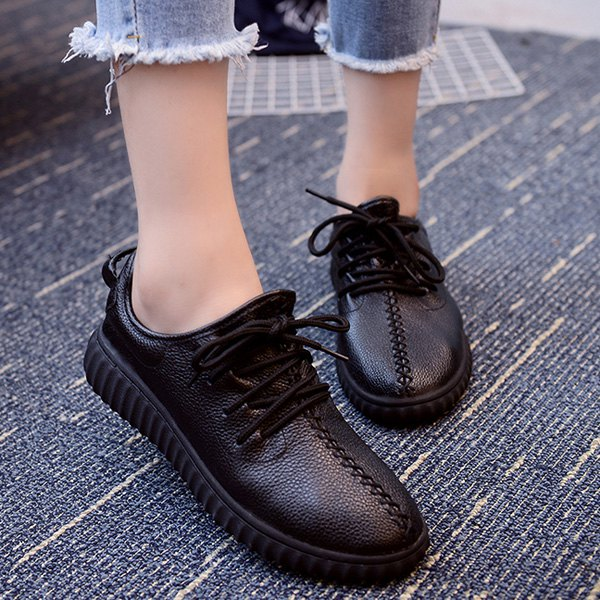 Preppy Tie Up and Stitching Design Women's Athletic Shoes - BLACK 39