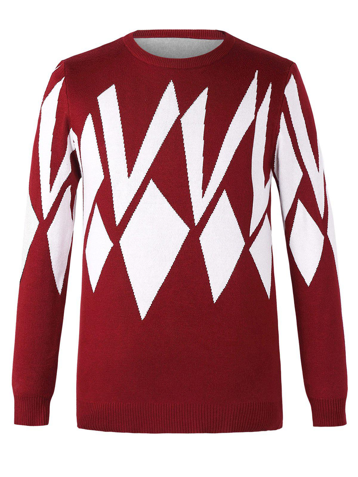 Chic Geometric Design Round Neck Long Sleeves Sweater For Men - RED 4XL