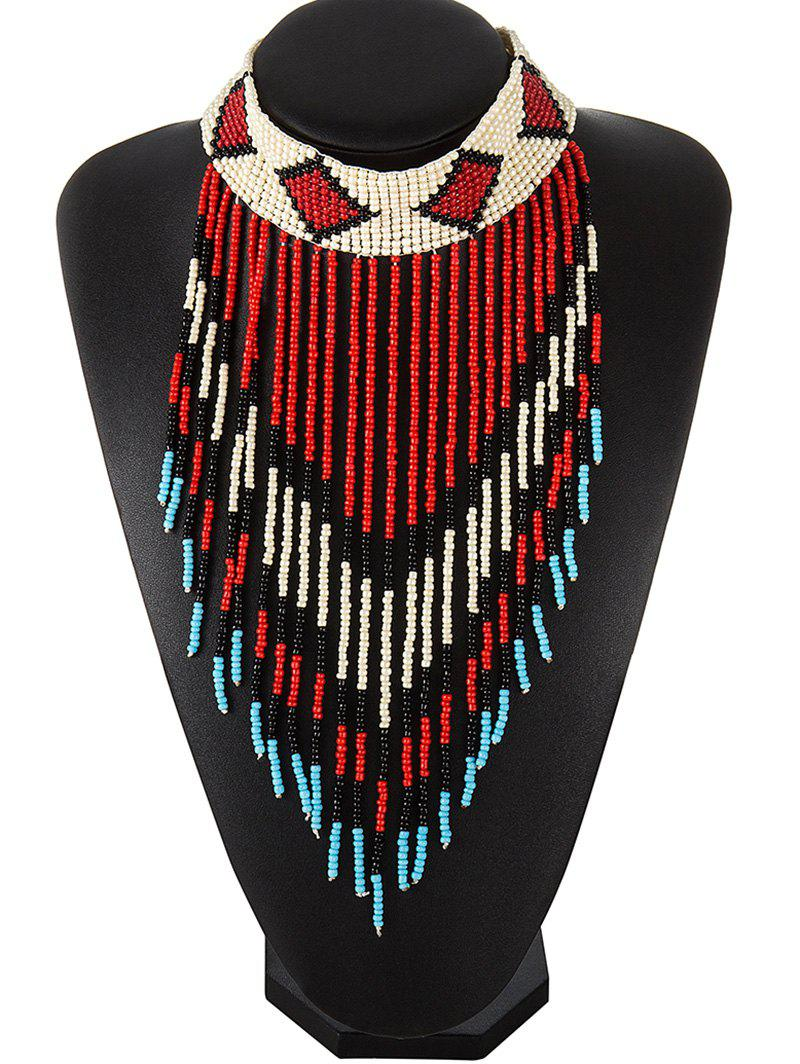 Color Block Beads Fringe Choker Necklace - RED
