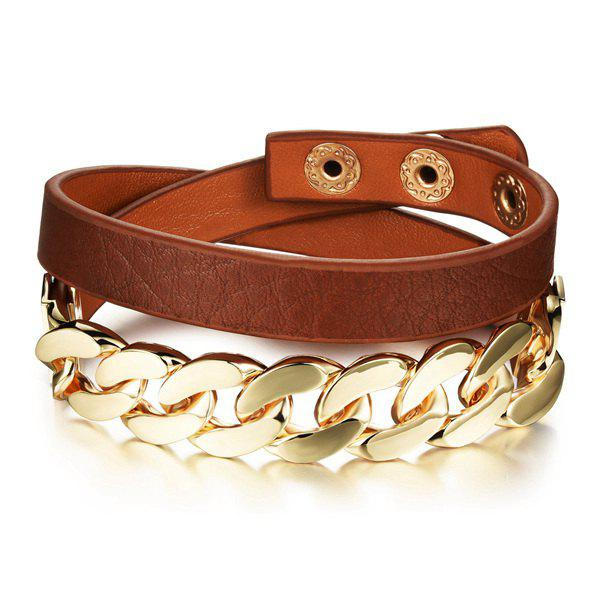 Fashion Faux Leather Chainsaw Layered Strand Bracelet For Women - ANTIQUE BROWN