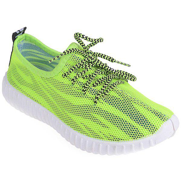Fashionable Breathable and Colour Splicing Design Women's Athletic Shoes - NEON GREEN 39