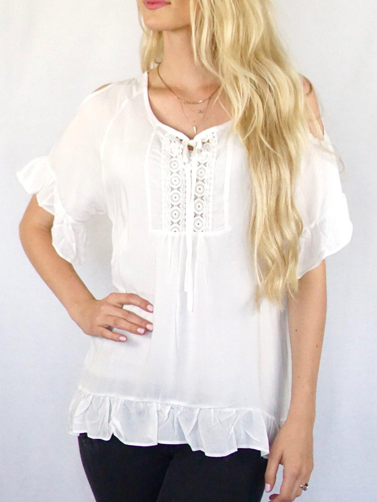 Stylish Scoop Neck 3/4 Sleeve Solid Color Cut Out Women's Blouse - WHITE XL