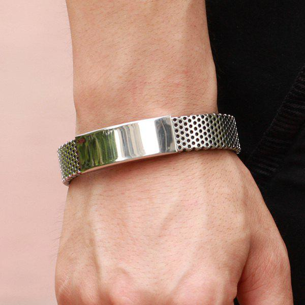 Fashion Cut Out Solid Color Silver Plated Polished Bracelet For Men