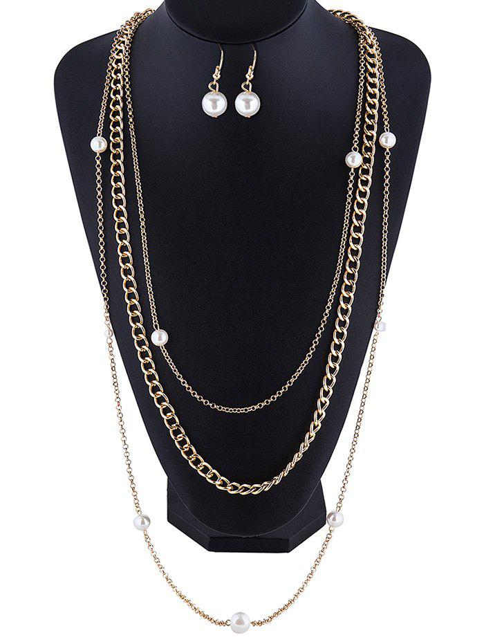 Stylish Faux Pearl Layered Necklace and Earrings - GOLDEN