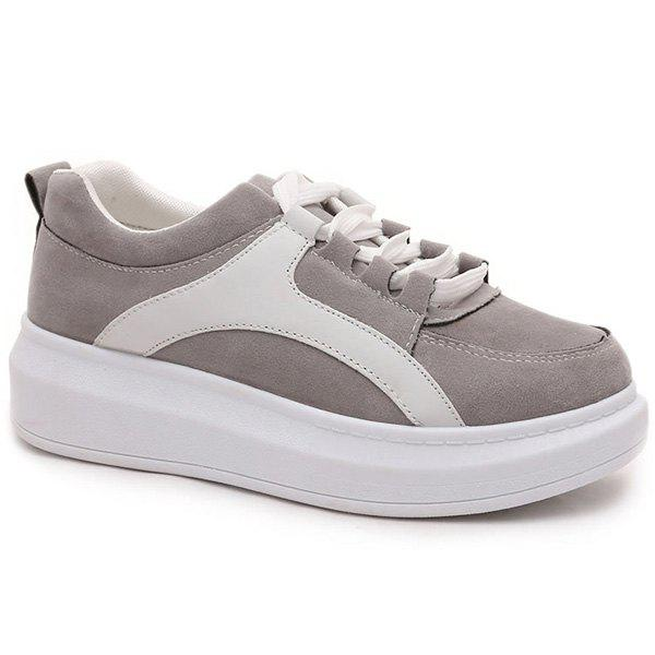 Leisure Colour Splicing and Suede Design Women's Athletic Shoes - GRAY 39