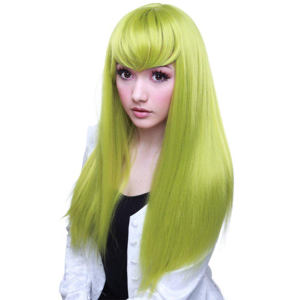 Fashion Hatsune Miku Long Straight Green Full Bang Cosplay Synthetic Wig - GREEN