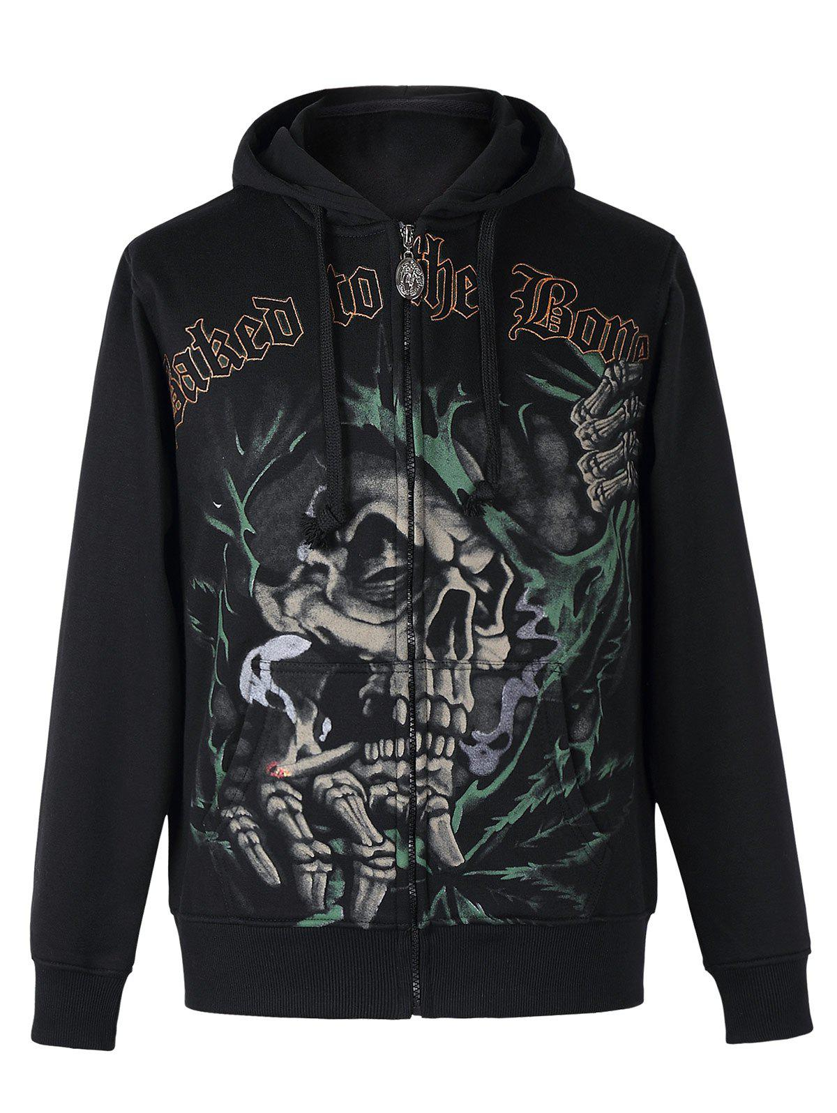 Active Skull Print Zipper Flying Long Sleeves Thicken Hoodie For Men - BLACK 2XL
