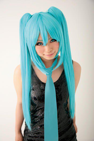 Fashion Hatsune Miku Long Water Blue Straight with Bunches Side Bang Cosplay Synthetic Wig - WATER BLUE