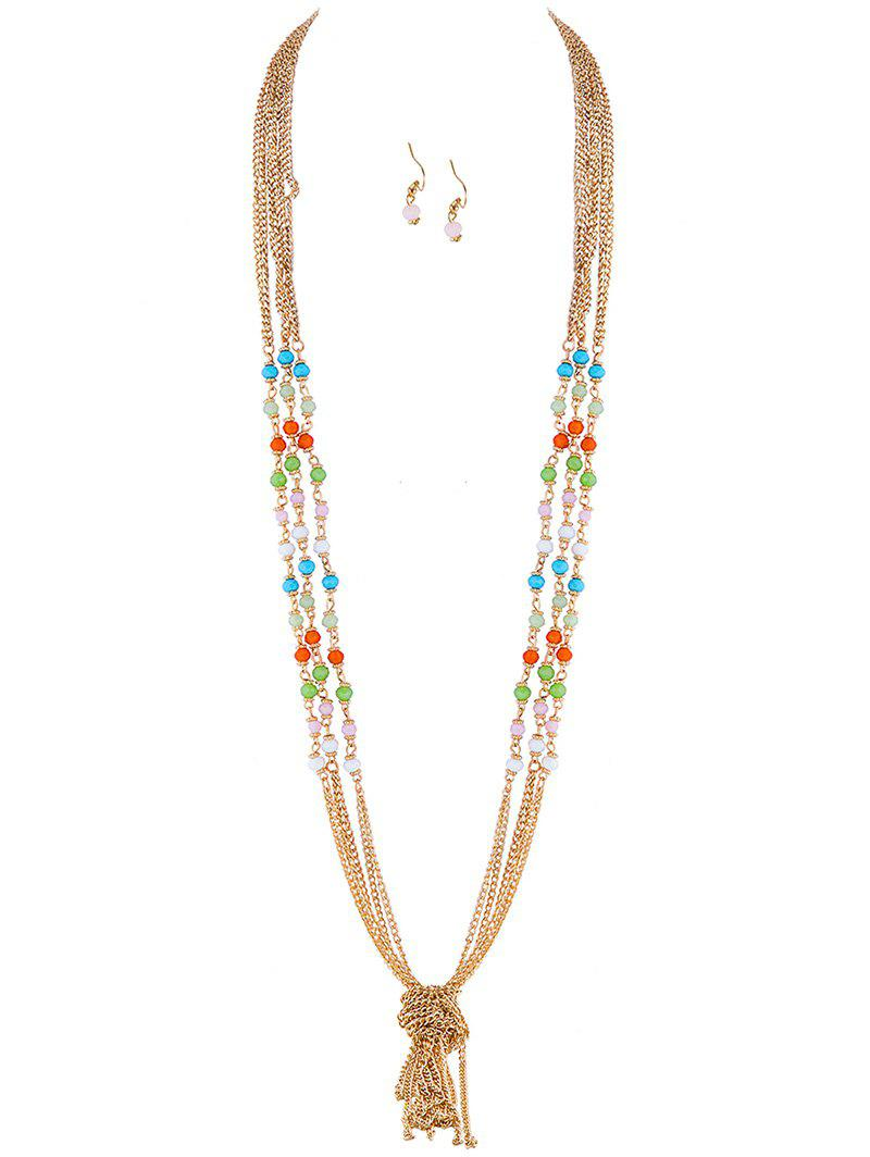 Stylish Knot Beaded Necklace and Earrings -  GOLDEN