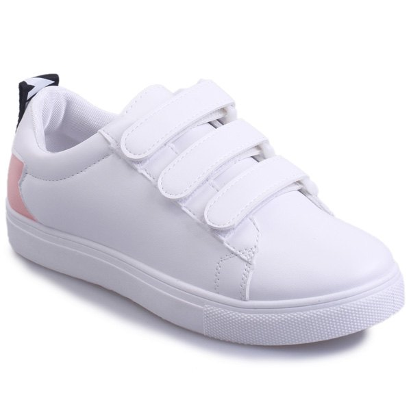 Casual PU Leather and Letter Pattern Design Women's Athletic Shoes - PINK/WHITE 37