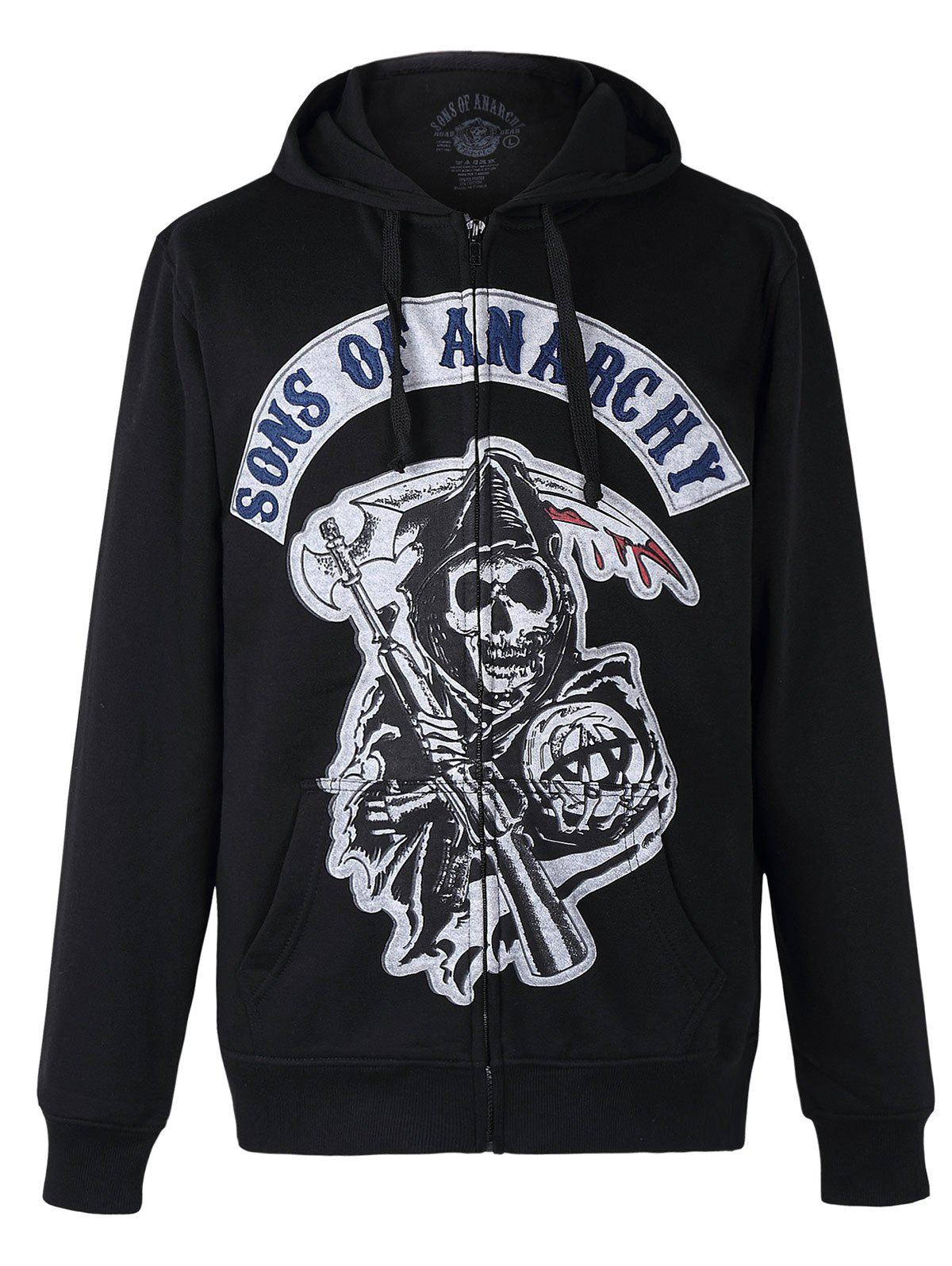 Skeleton Print Zipper Flying Long Sleeves Thicken Hoodie For Men - BLACK 3XL