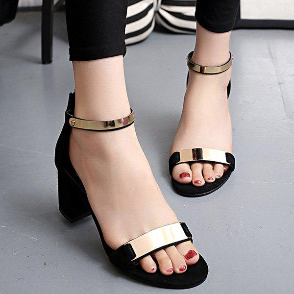 Leisure Metal and Zipper Design Women's Sandals
