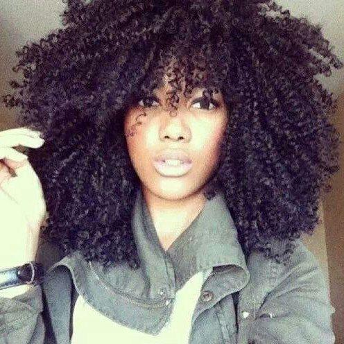 Fashion Black Medium Fluffy Afro Curly Capless Synthetic Wig For Women - BLACK