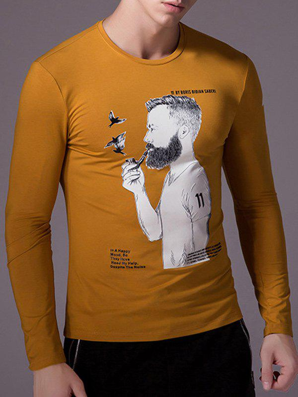 Round Neck Cartoon Figure Print Long Sleeve Men's T-Shirt - GINGER 3XL