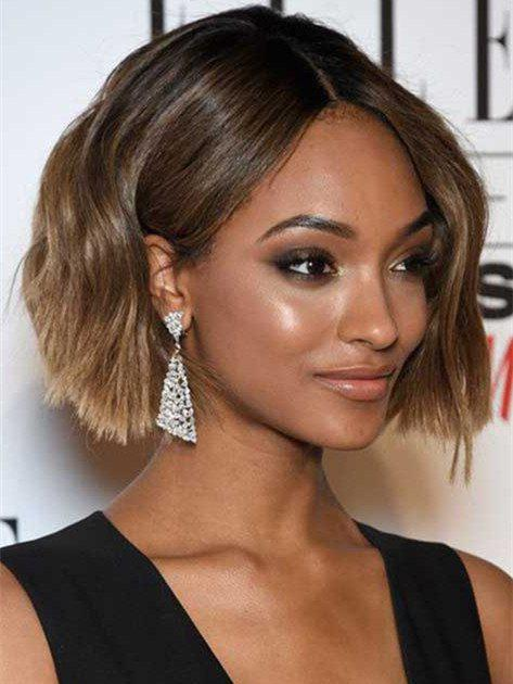 Elegant Black Ombre Flaxen Capless Fluffy Wave Short Women's Synthetic Wig - COLORMIX