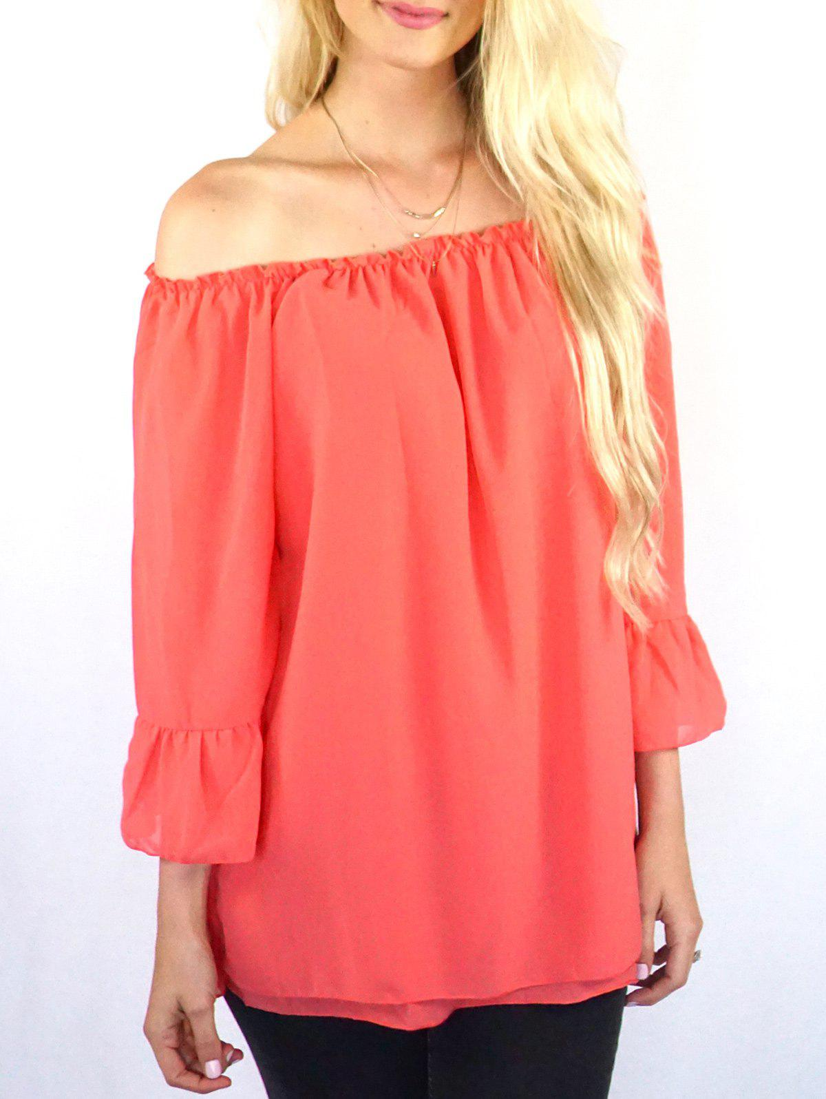 Endearing Off-The-Shoulder Pure Colour Ruffled Blouse For Women - ORANGE RED S
