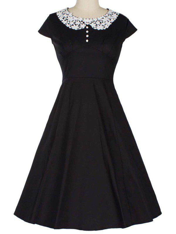 Retro Lace Spliced Faux Collar Fit and Flare Dress lace overlay fit and flare dress