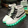 Trendy Led Luminous and High Top Design Women's Sneakers - WHITE 43