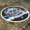 Retro Gothic Style Skull and Flower Pattern Tassel Edge Polyster Round Beach Throw - BLACK ONE SIZE