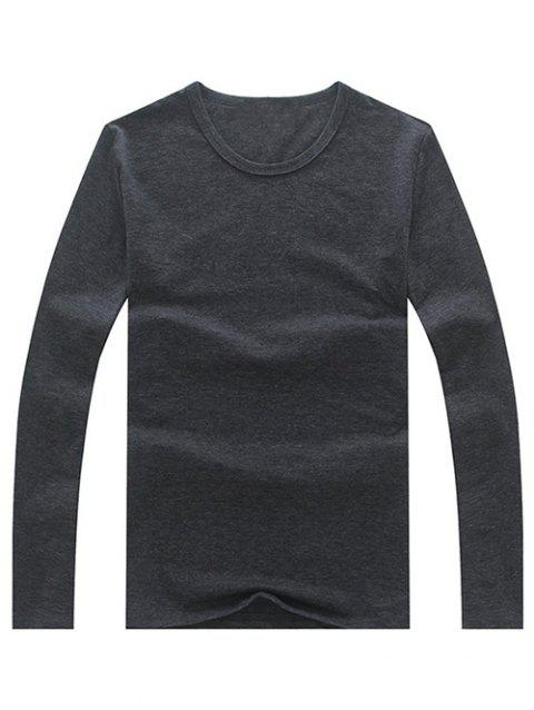 Brief Long Sleeve Round Neck Solid Color Tee - DEEP GRAY S