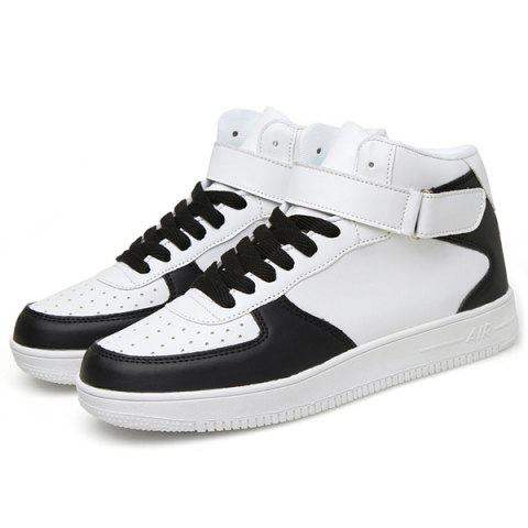 Fashionable High Top and PU Leather Design Men's Athletic Shoes - WHITE/BLACK 41