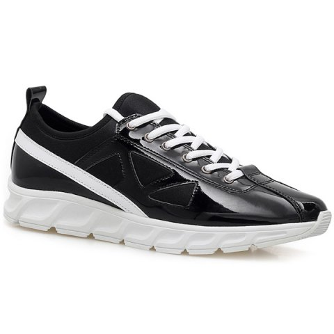 Stylish Color Block and Splice Design Men's Athletic Shoes - BLACK 43