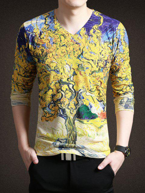 Trendy Painting Print V-Neck Long Sleeves Tee For Men - YELLOW 3XL
