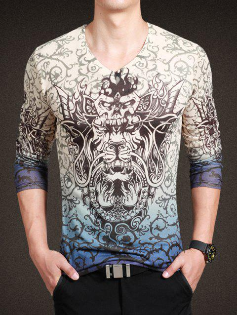 Fashionable Totem Print V-Neck Long Sleeves Tee For Men - COLORMIX 3XL