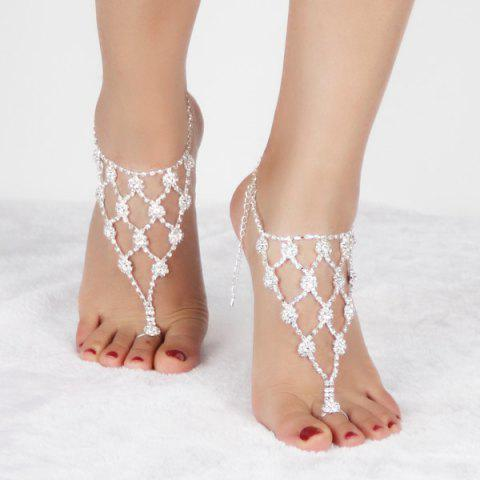 Pair of Charming Rhinestoned Geometric Anklets For Women - SILVER