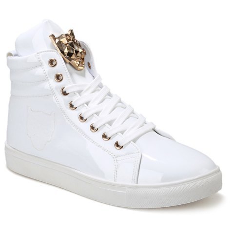 Trendy High Top and Metal Design Men's Casual Shoes - WHITE 41