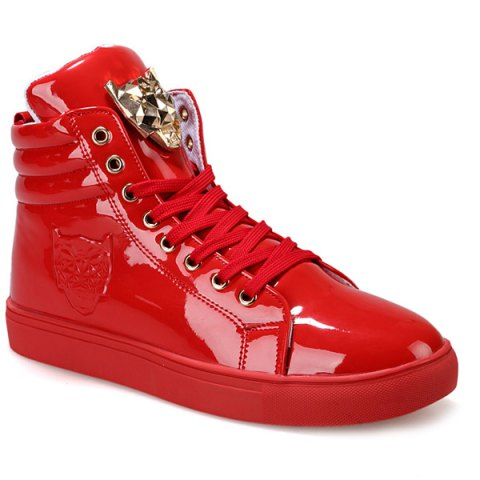 Trendy High Top and Metal Design Men's Casual Shoes - RED 40