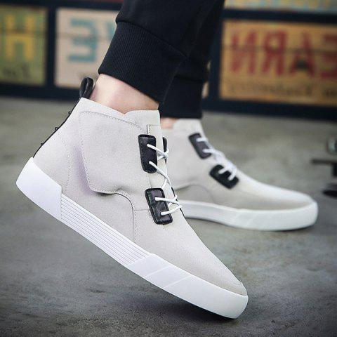 Trendy Suede and High Top Design Men's Casual Shoes - GRAY 42