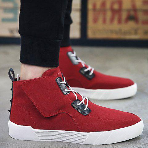 Trendy Suede and High Top Design Men's Casual Shoes - RED 42