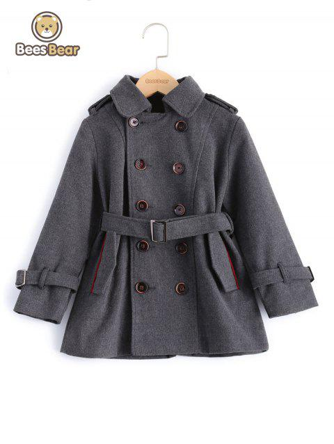 Stylish Solid Color Double-Breasted Wool Coat For Boy - GRAY CHILD-5