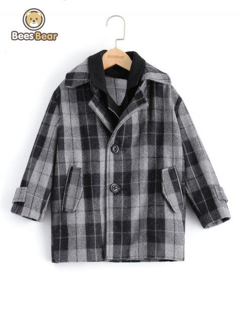 Stylish Two Button Design Plaid Furcal Wool Coat For Boy - GRAY CHILD-5